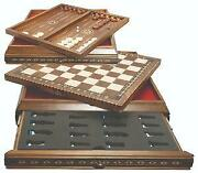 Marquetry Board And Backgammon 53cm For Standard Themed Chess 10390