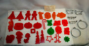 Plastic Cookie Cutters Vintage With Recipe Lot Of 28 +6 Free Metal Cutters S9385