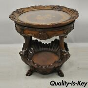French Louis Xv Regency Shell Carved Floral Inlay Glass Tray Top Coffee Table