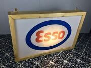 Large Esso Light Up Sign Advertising Collectibles Petroleum Wood Frame