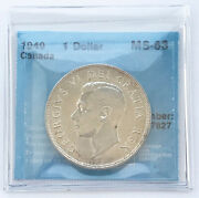1949 Can 1 One Dollar Silver Coin George Vi - Ms63 7827