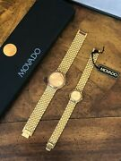 Movado His And Hers Watches Gold Round Men's And Ladies Vintage Brand New