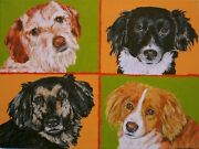 Rescue Dogs Original Painting 4 Cute Dogs Adopted Vetand039s Office Art