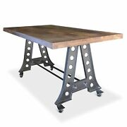 Industrial A-frame Counter Height Pub Gathering Table Or Island With Casters