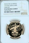1977 Ussr Gold 100 Roubles Moscow Olympic Emblem Ngc Pf 69 Ultra Cameo