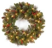 20 In Pre Lit Decorated Christmas Front Door Holiday Spruce Wreath Idea