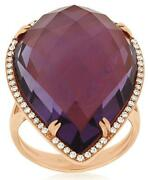 Large 23.23ct Diamond And Aaa Amethyst 14kt Rose Gold 3d Pear Shape Halo Fun Ring