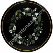 24x24 Black Marble Round Top Center Table Florals Inlaid Art Christmas Gift