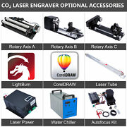 Co2 Laser Engraver Accessories Chiller Rotary Axis Laser Power Supply Laser Tube