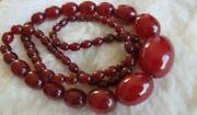 Vintage Cherry Amber Bakelite Oval Graduated Bead Concealed Clasp 31 Necklace