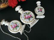 Three Antique Vintage Hand Painted Porcelain Perfume Bottle Flask Made In France