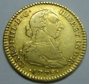 1778 Mexico 2 Escudos Charles Iii Gold Spain Doubloon Spanish Colonial Era