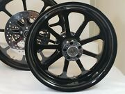 21x3.25 And 18x5.50 Harley Street Glide Gloss Black Nine Wheel Abs And Front Rotors