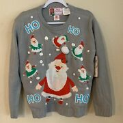 Ugly Christmas Santa Light Up Sweater United States Sweaters Womenand039s M Grey
