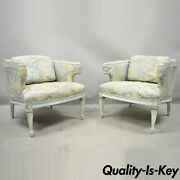 Vintage French Provincial Louis Xvi Blue And Cream Painted Club Chairs - A Pair