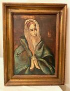 Antique 1937 Italian Ch Kleemann Religious Mother Of Sorrow Mary Oil Painting