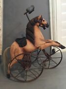Antique Toy Tricycle Horse Hand Carved Wood/iron Decorative