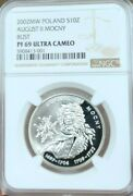 2002 Poland Silver 10 Zlotych August Ii Mocny Bust Ngc Pf 69 Ultra Cameo