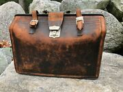 Antique Black Leather Medical Doctors Lawyers Bag Case Briefcase Luggage Cowhide