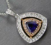 Large 1.15ct Diamond And Aaa Amethyst 14kt White And Rose Gold 3d Triangular Pendant