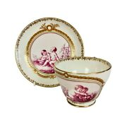 Kerr And Binns Worcester Cup And Saucer, Puce Playing Putti In Garden, Ca 1855