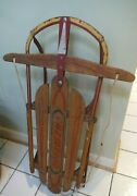 Vintage 1960s Kalamazoo Winter Champion Steering Sled Wood And Red Metal 37and039and039 L