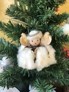 Cotton Boll Angel Christmas Ornament Gold White Country Farmhouse Southern Art