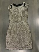 Arden B Size S Gold Metallic Textured Cap Sleeves Fitted Stretch Dress Small Xs