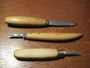 Lot Of 3 - Wood Carving Knives - Solingen No.58 - Frostand039s Mora - Usa Unmarked