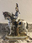 German Porcelain Military Horse Napoleon Garde Imperiale Horn Scheibe Alsbach