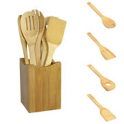 6x/set Bamboo Utensil Kitchen Wooden Cooking Tools Spoon Spatula Mixing New Flo2
