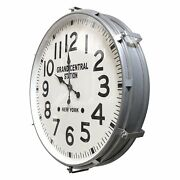 Large Industrial Metal Wall Clock - Grand Central Station, Ny - 26 Silver