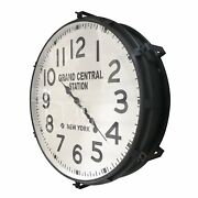 Large Industrial Metal Wall Clock - Grand Central Station, Ny - 26 Black