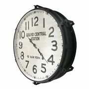 Large Industrial Metal Wall Clock - Grand Central Station, Ny - 30 Black