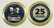 Aa Bill And Bob Old Timer 25 Year Blue Rope Edge Sobriety Coin Chip 1 3/4