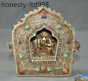 Old Tibet Cattle Bone Silver Filigree Inlay Turquoise Red Coral Buddha Shrines
