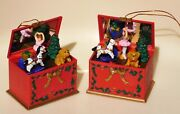Vtg Musical 2 Toybox Toys Move Mirror Light Up Xmas Ornaments Jingle Bells
