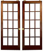 Two 30 X 79 Sliding French Pocket Doors | 15 Lite Glass | Solid Core