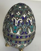 Large Russian Silver And Enamel Easter Egg