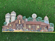 Vintage Apsit Bros Chalk Ware Large Piece House-barn W/windmill-water Tower