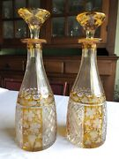 Pair Antique Moser Cut To Clear Citrine Matched Glass Crystal Bar Decanters