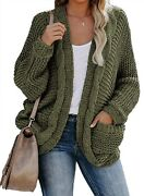 Aleumdr Women Open Front Long Sleeve Chunky Knit Cardigan Sweaters Outwear With