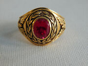 Gold Plated Sterling Silver Laurel Wreath Military Franklin Mint Ring Sz 11