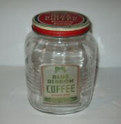 Vintage Blue Ribbon Coffee Glass Jar With Original Lid 3 Pounds Free Shipping