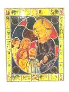 Antique Stained Glass Window Church Salvage Jesus With Children 8 X 10 Painted