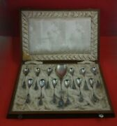 Louis Xiv By Unknown German .800 Silver Ice Cream Set 13pc Spoons Server In Box