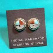 Zuni Sunface Inlay Silver Post Earrings Native American Collectible Vintage Usa