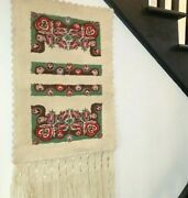 Vintage Embroidered Large Wall Hanging Tapestry- 18.5 W X 39h - Nice Quality