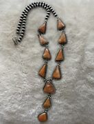 Navajo Sterling Silver Orange Spiny Oyster Lariat Necklace 30 Inch