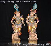 Chinese Ancient Porcelain Painted 24k Gold General Warrior Door God Statue Pair